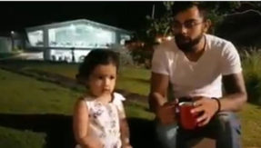 Watch video Virat Kohli meets MS Dhonis daughter Ziva after beat australia in first t20