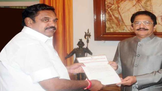 governor c vidyasagar rao invited to palaniswamy