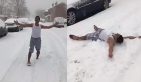 man Dancing in snow on a Hindi movie song video viral on Social Media