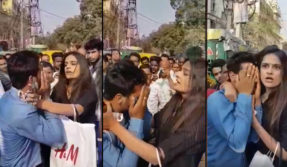 Girl-beating-a-eve-teaser-on-road-in-Gaffar-Market-delhi