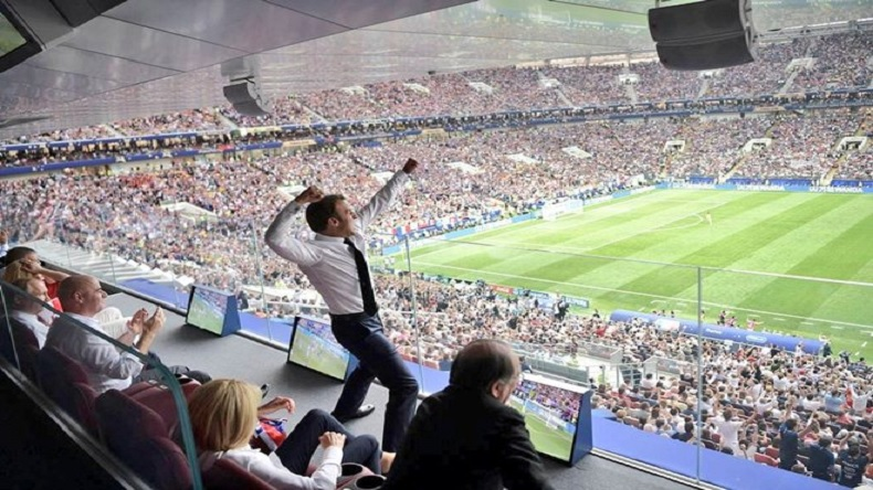 FIFA World Cup 2018 final French President Emmanuel Macron dance