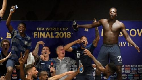 France players celebration in press confrence