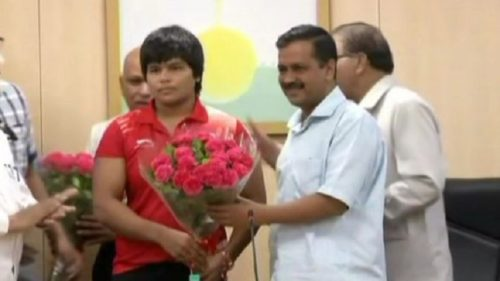 18th Asian Games bronze medalist Wrestler Divya Kakran Arvind Kejriwal
