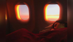 bolywood actress Alia bhatt shares photo on social media in which she sleeping in a plane