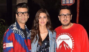 Kriti Sainan photo with Karan Johar and Dinesh Vijan Growing heart beats of fans in black short dress