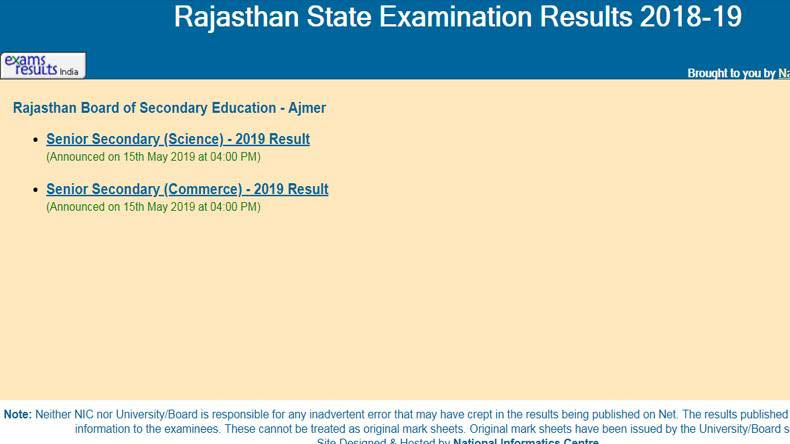 RBSE Rajasthan Board BSER 10th Result 2019