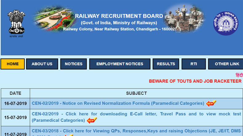 RRB Paramedical exam 2019