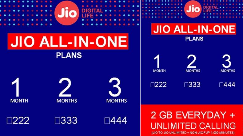Reliance JIO ALL IN ONE PLANS TABLE PRICING 222, 333, 444 INR, UNLIMITED ALL SERVICES SINGLE PLAN, 2 GB DATA