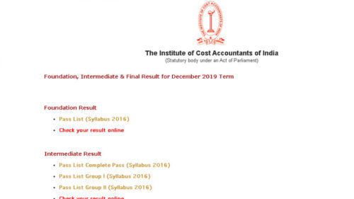 ICMAI December Exam 2019 Result